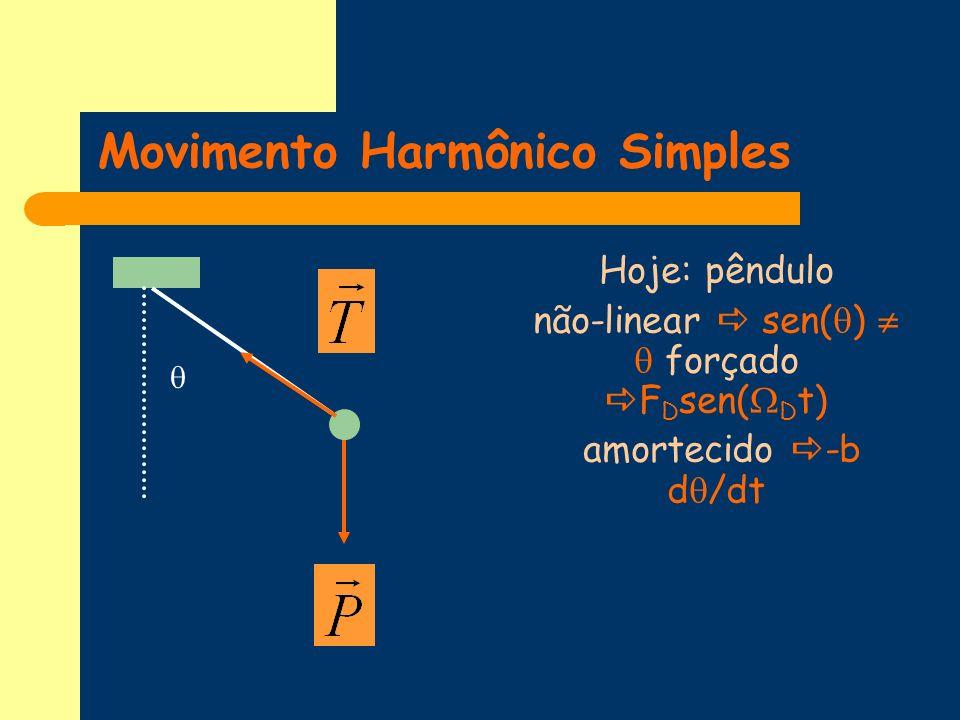 Movimento Harmônico Simples Hoje: pêndulo não-linear sen( ) forçado F D sen( D t) amortecido -b d /dt