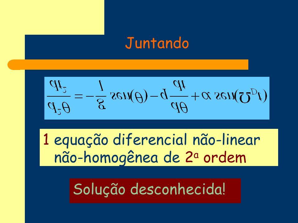 Força externa l =9.8 m g = 9,8 m/s 2 t= 0,04 s 0 = 0 0 = 0.02 = 0.0 q= 0.625 =2 transiente
