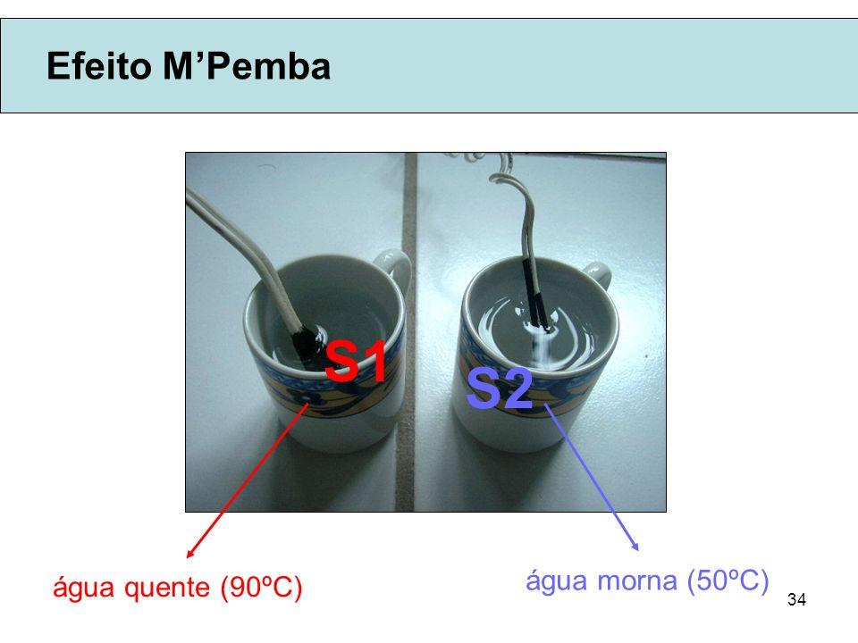 34 Efeito MPemba água quente (90ºC) água morna (50ºC) S1 S2