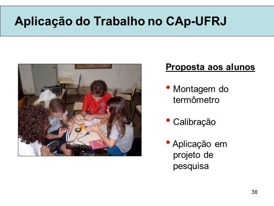 36 Aplicação do Trabalho no CAp-UFRJ Proposta aos alunos Montagem do termômetro Calibração Aplicação em projeto de pesquisa