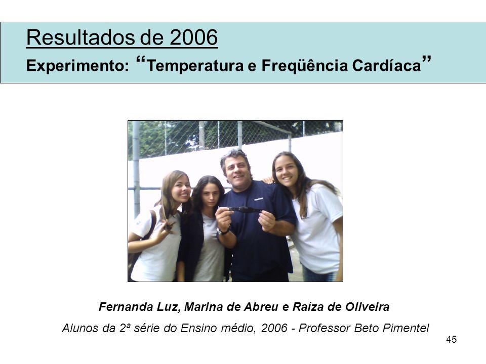 45 Resultados de 2006 Experimento: Temperatura e Freqüência Cardíaca Fernanda Luz, Marina de Abreu e Raíza de Oliveira Alunos da 2ª série do Ensino mé
