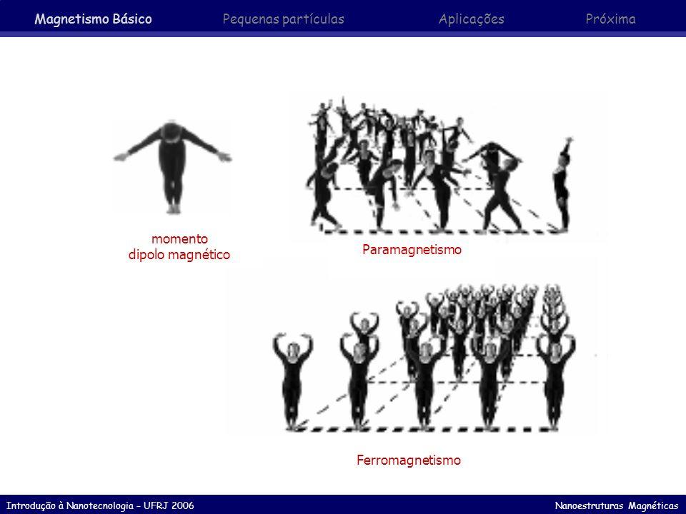 Introdução à Nanotecnologia – UFRJ 2006 Nanoestruturas Magnéticas M r : remanência Magnetização resultante quando o campo é retirado após saturação M H Histerese e Processos de Magnetização M S Magnetização de Saturação H C : coercividade Campo reverso que reduz a magnetização a zero após saturação Magnetismo Básico Pequenas partículasAplicaçõesPróxima