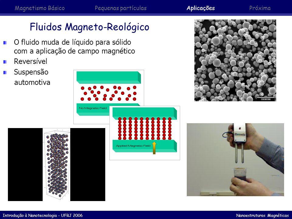 Introdução à Nanotecnologia – UFRJ 2006 Nanoestruturas Magnéticas Fluidos Magneto-Reológico O fluido muda de líquido para sólido com a aplicação de ca
