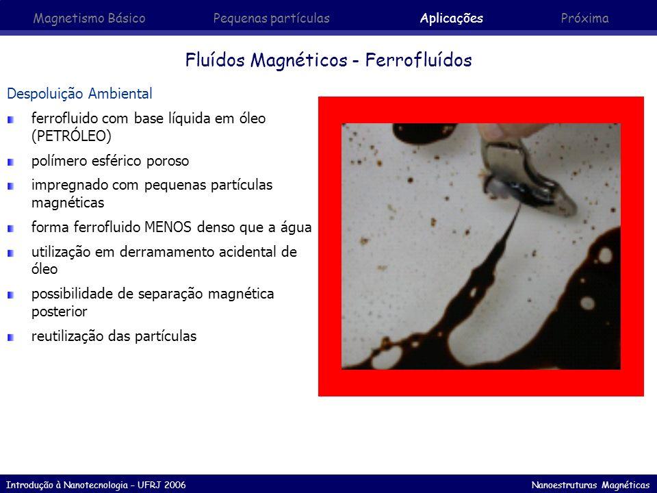 Introdução à Nanotecnologia – UFRJ 2006 Nanoestruturas Magnéticas Fluídos Magnéticos - Ferrofluídos Despoluição Ambiental ferrofluido com base líquida