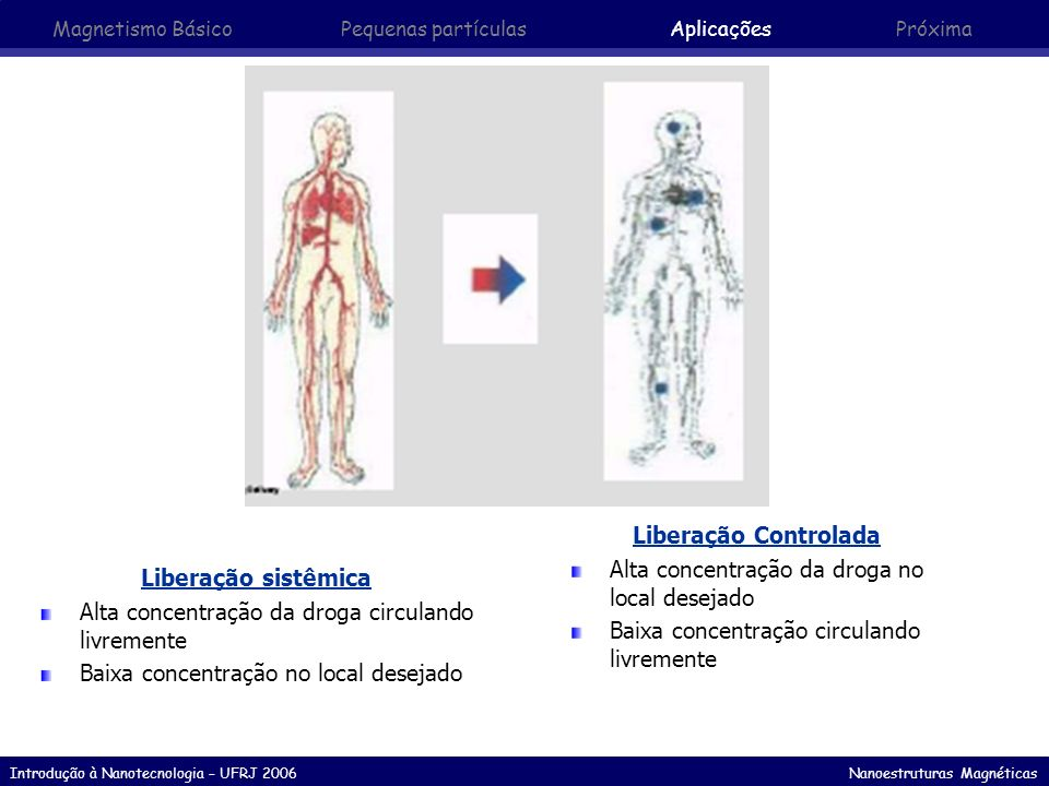 Introdução à Nanotecnologia – UFRJ 2006 Nanoestruturas Magnéticas Liberação sistêmica Alta concentração da droga circulando livremente Baixa concentra