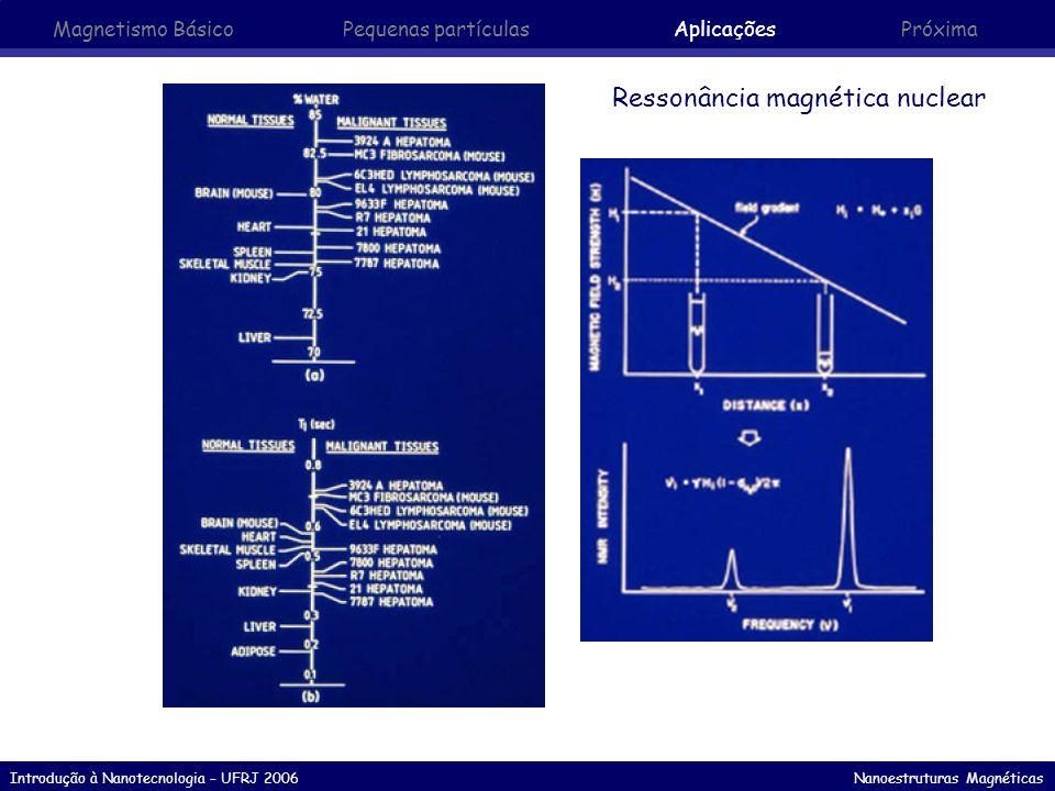 Introdução à Nanotecnologia – UFRJ 2006 Nanoestruturas Magnéticas Ressonância magnética nuclear Magnetismo Básico Pequenas partículasAplicaçõesPróxima
