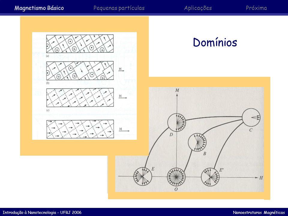 Introdução à Nanotecnologia – UFRJ 2006 Nanoestruturas Magnéticas Observação de domínios com ferrofluidos Separação entre as linhas: correspondem aproximadamente ao tamanho dos momínios Largura das linhas: largura aproximada das paredes Resolução depende da densidade do ferrofluido Partículas magnéticas atraídas para a região de maior gradiente de campo (paredes de domínio) Partículas agregadas à regiões onde estão localizadas as paredes de domínio (linhas escuras) Quando o fluído evapora os domínios podem ser observados ao microscópio Magnetismo Básico Pequenas partículasAplicaçõesPróxima