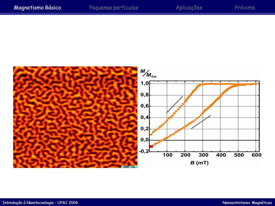 Introdução à Nanotecnologia – UFRJ 2006 Nanoestruturas Magnéticas Fluídos Magnéticos - Ferrofluídos Despoluição Ambiental ferrofluido com base líquida em óleo (PETRÓLEO) polímero esférico poroso impregnado com pequenas partículas magnéticas forma ferrofluido MENOS denso que a água utilização em derramamento acidental de óleo possibilidade de separação magnética posterior reutilização das partículas Magnetismo Básico Pequenas partículasAplicaçõesPróxima