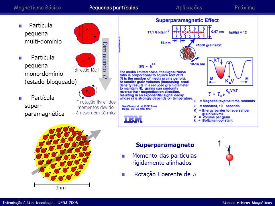 Introdução à Nanotecnologia – UFRJ 2006 Nanoestruturas Magnéticas Momento Magnético Um único grão (nanomagneto esférico) é um Modomínio feromagnético de N átomos.