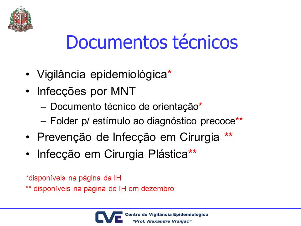Documentos técnicos Vigilância epidemiológica* Infecções por MNT –Documento técnico de orientação* –Folder p/ estímulo ao diagnóstico precoce** Preven