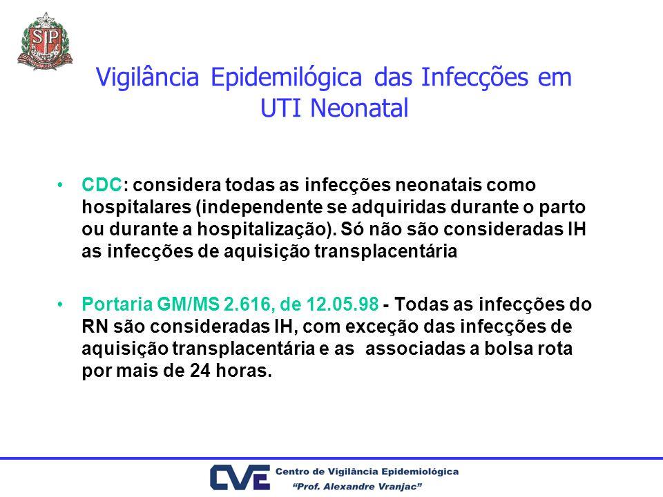 Vigilância Epidemilógica das Infecções em UTI Neonatal CDC: considera todas as infecções neonatais como hospitalares (independente se adquiridas duran