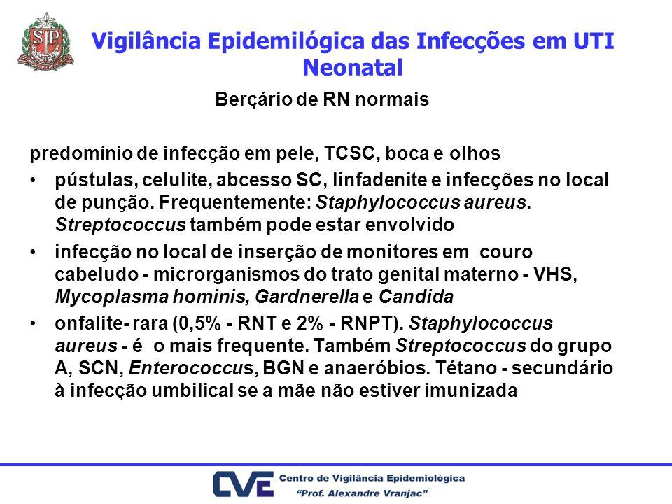 Vigilância Epidemilógica das Infecções em UTI Neonatal Berçário de RN normais predomínio de infecção em pele, TCSC, boca e olhos pústulas, celulite, a
