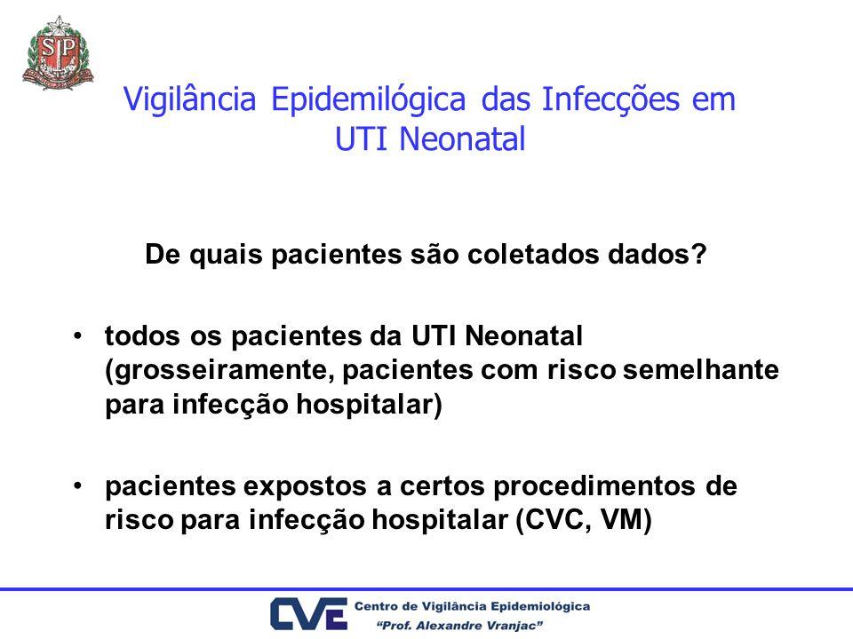 Vigilância Epidemilógica das Infecções em UTI Neonatal De quais pacientes são coletados dados? todos os pacientes da UTI Neonatal (grosseiramente, pac