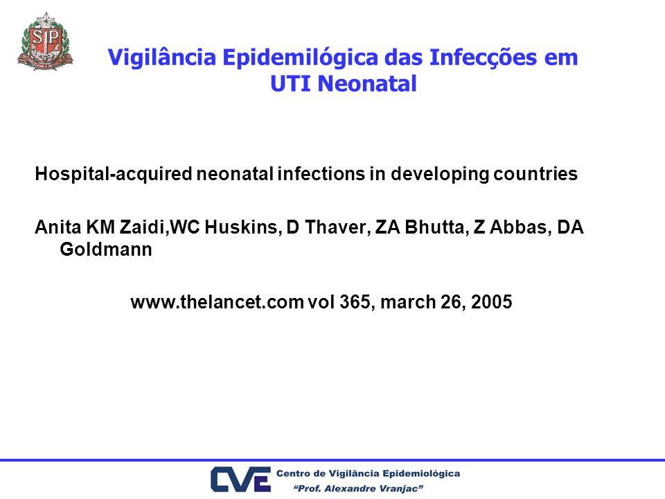 Vigilância Epidemilógica das Infecções em UTI Neonatal Hospital-acquired neonatal infections in developing countries Anita KM Zaidi,WC Huskins, D Thav