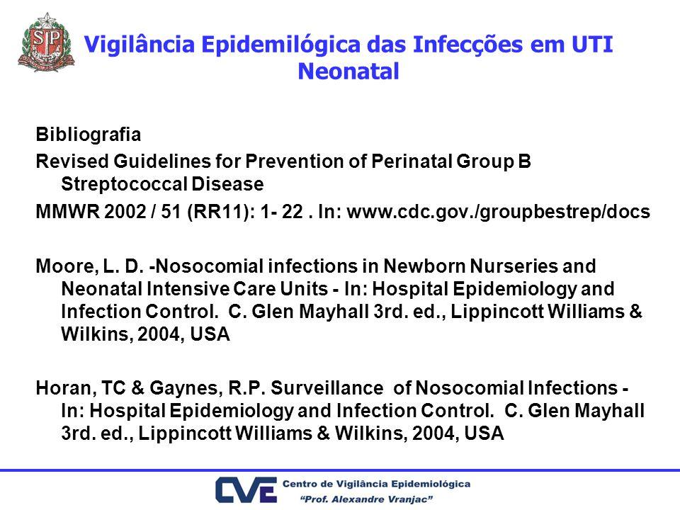 Vigilância Epidemilógica das Infecções em UTI Neonatal Bibliografia Revised Guidelines for Prevention of Perinatal Group B Streptococcal Disease MMWR