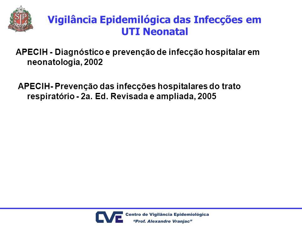 Vigilância Epidemilógica das Infecções em UTI Neonatal APECIH - Diagnóstico e prevenção de infecção hospitalar em neonatologia, 2002 APECIH- Prevenção