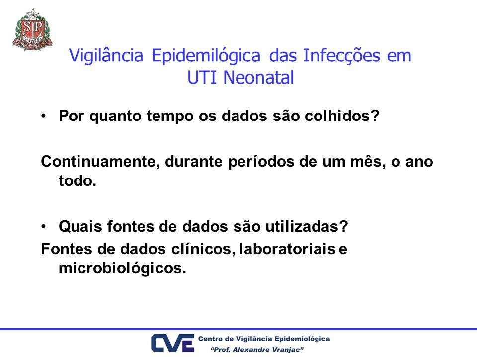 Vigilância Epidemilógica das Infecções em UTI Neonatal Fatores de risco outros dispositivos: tubo endotraqueal, cateter urinário, shunts ventrículo-peritoniais sondas gástricas, enterais: porta de entrada e colonização do trato GI leite materno e fórmulas administradas em infusão contínua - horas à temperatura ambiente Quando > 10(6) col/ml - associação com sepsis e ECN leite materno: HIV, HTLV-I e HTLV-II, CMV.