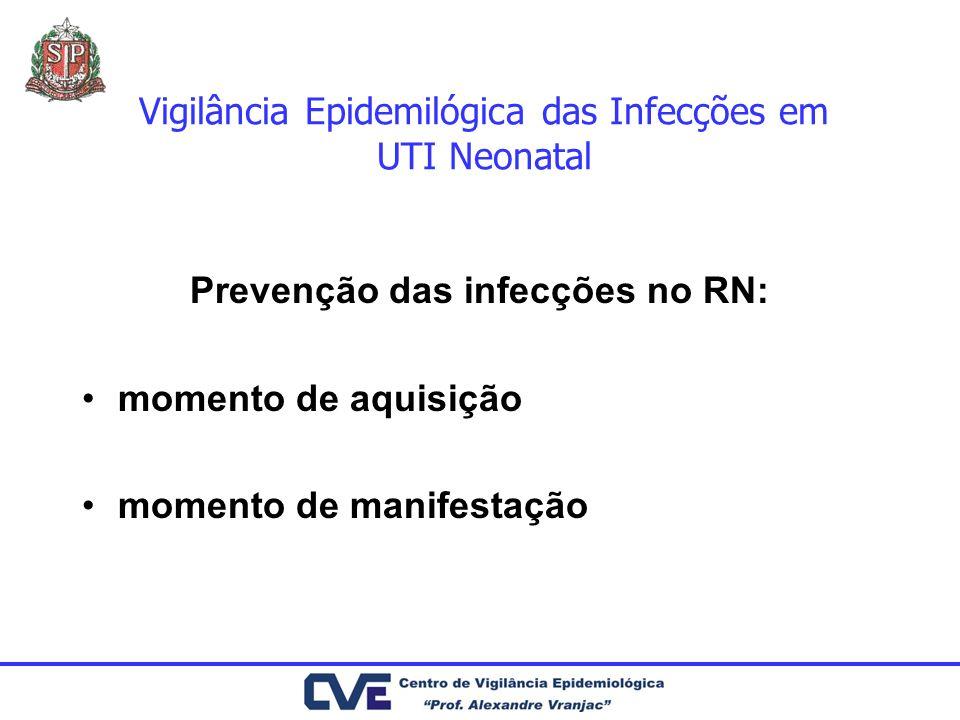 Vigilância Epidemilógica das Infecções em UTI Neonatal Fatores de risco água: Pseudomonas, Serratia, Stenotrophomonas, Flavobacterium - incubadoras, reservatórios de umidificadores, nebulizadores, circuitos respiratórios, água de banho-maria para descongelar plasma transfusão de sangue: HIV, HBV, HCV, HAV, CMV, Malária nutrição parenteral: fungos fluidos EV: contaminação extrínseca durante a manipulação equipamentos em geral contaminados Mãos de profissionais de saúde - sem higienização adequada