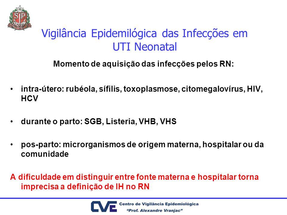 Vigilância Epidemilógica das Infecções em UTI Neonatal Momento de aquisição das infecções pelos RN: intra-útero: rubéola, sífilis, toxoplasmose, citom