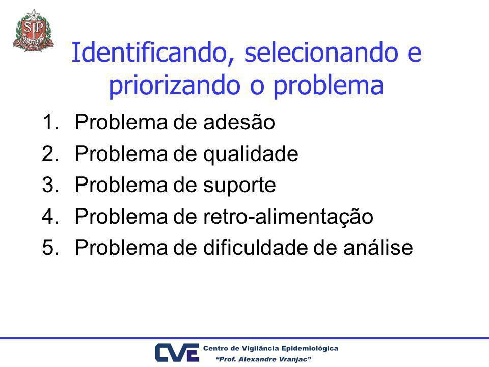 Identificando, selecionando e priorizando o problema 1.Problema de adesão 2.Problema de qualidade 3.Problema de suporte 4.Problema de retro-alimentaçã