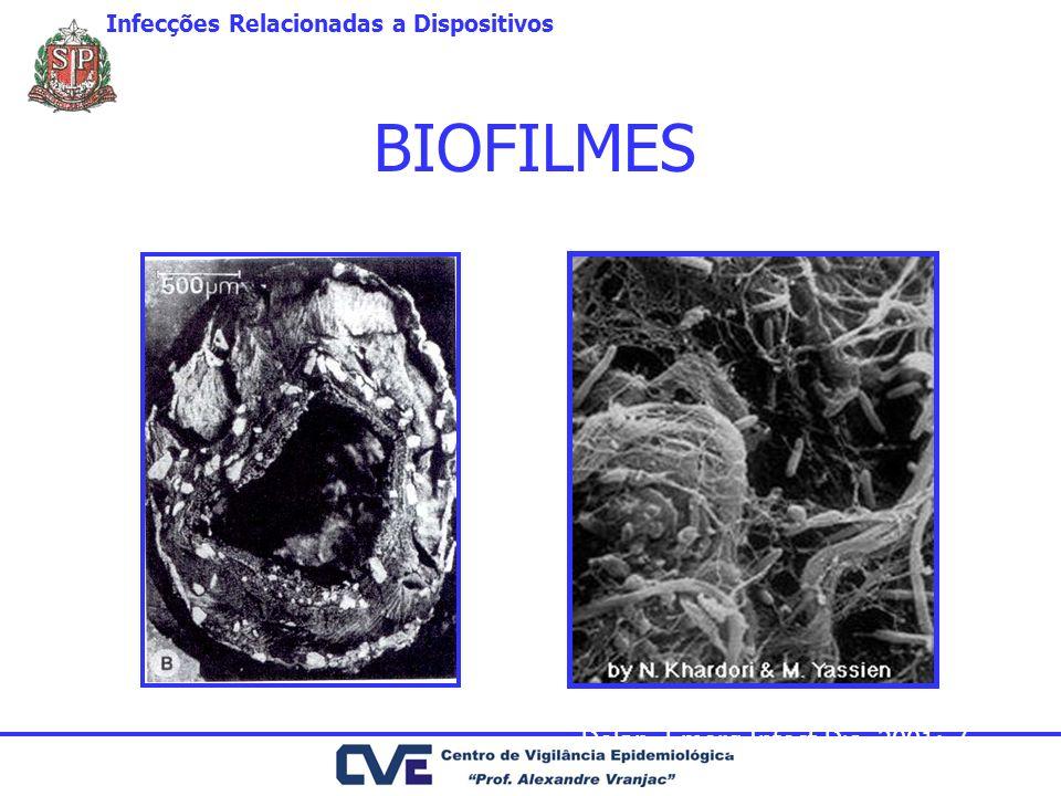 BIOFILMES Dolan. Emerg Infect Dis, 2001: 7 Infecções Relacionadas a Dispositivos