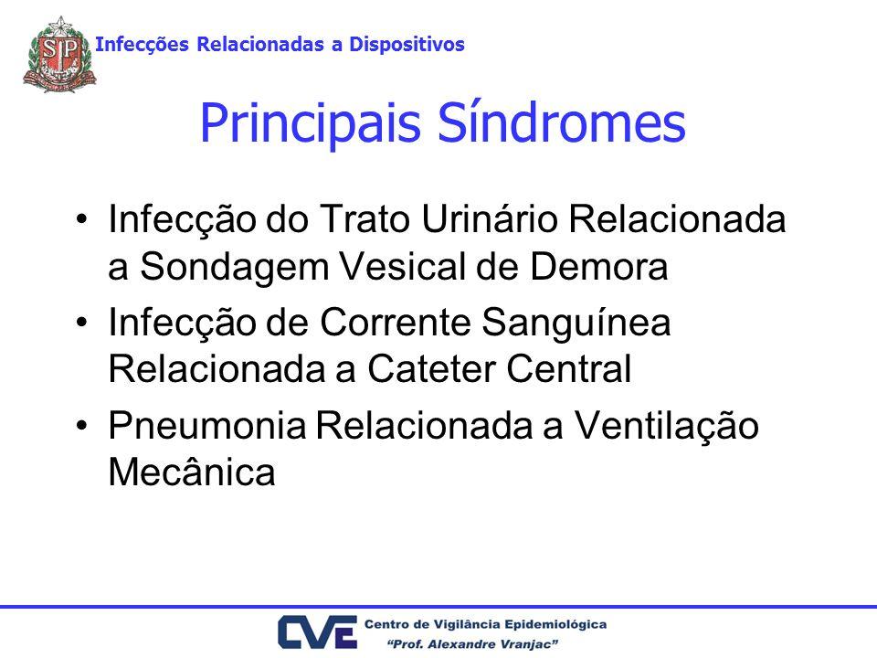 Principais Síndromes Infecção do Trato Urinário Relacionada a Sondagem Vesical de Demora Infecção de Corrente Sanguínea Relacionada a Cateter Central Pneumonia Relacionada a Ventilação Mecânica Infecções Relacionadas a Dispositivos