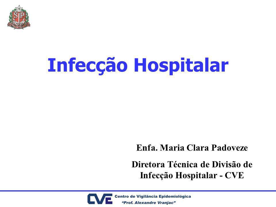 Infecção Hospitalar Enfa. Maria Clara Padoveze Diretora Técnica de Divisão de Infecção Hospitalar - CVE