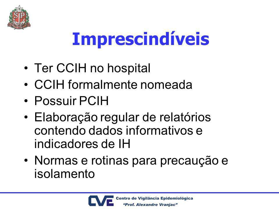 Ter CCIH no hospital CCIH formalmente nomeada Possuir PCIH Elaboração regular de relatórios contendo dados informativos e indicadores de IH Normas e r