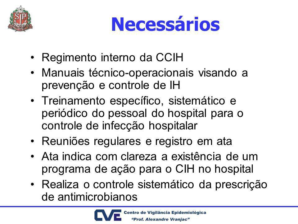 Necessários Regimento interno da CCIH Manuais técnico-operacionais visando a prevenção e controle de IH Treinamento específico, sistemático e periódic