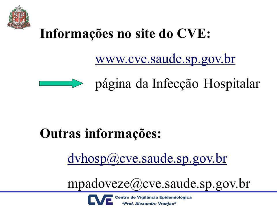 Informações no site do CVE: www.cve.saude.sp.gov.br página da Infecção Hospitalar Outras informações: dvhosp@cve.saude.sp.gov.br mpadoveze@cve.saude.s