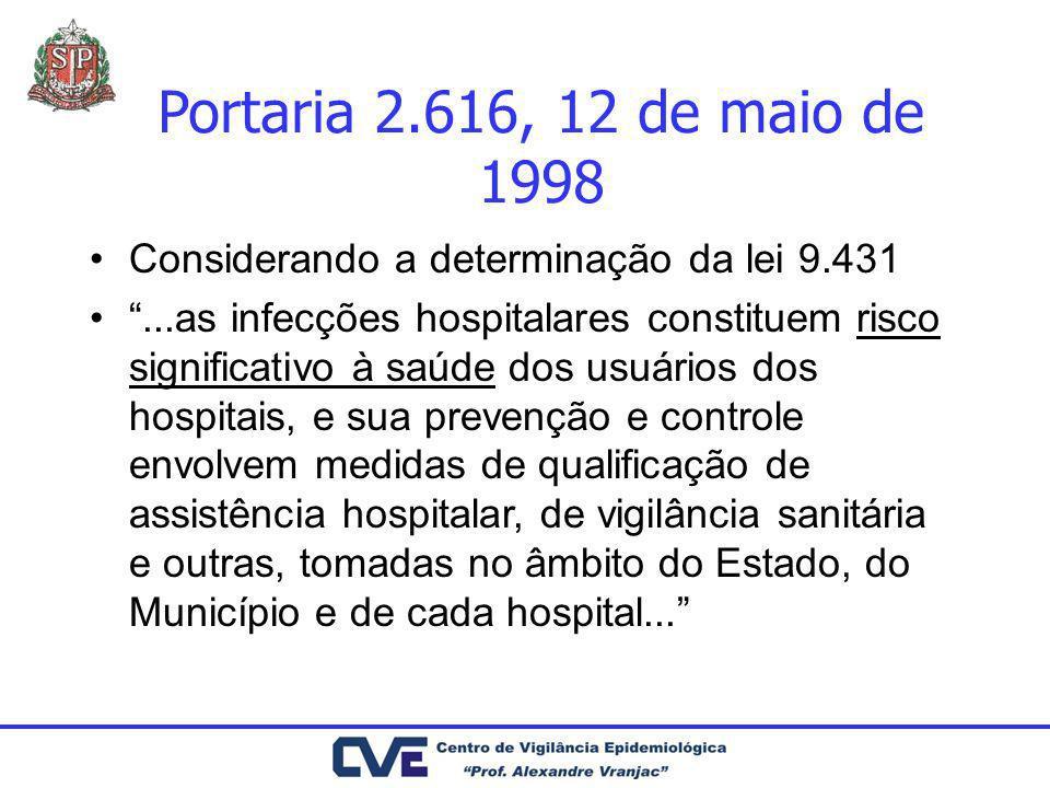 Portaria 2.616, 12 de maio de 1998 Considerando a determinação da lei 9.431...as infecções hospitalares constituem risco significativo à saúde dos usu
