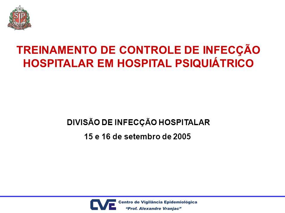 TREINAMENTO DE CONTROLE DE INFECÇÃO HOSPITALAR EM HOSPITAL PSIQUIÁTRICO DIVISÃO DE INFECÇÃO HOSPITALAR 15 e 16 de setembro de 2005
