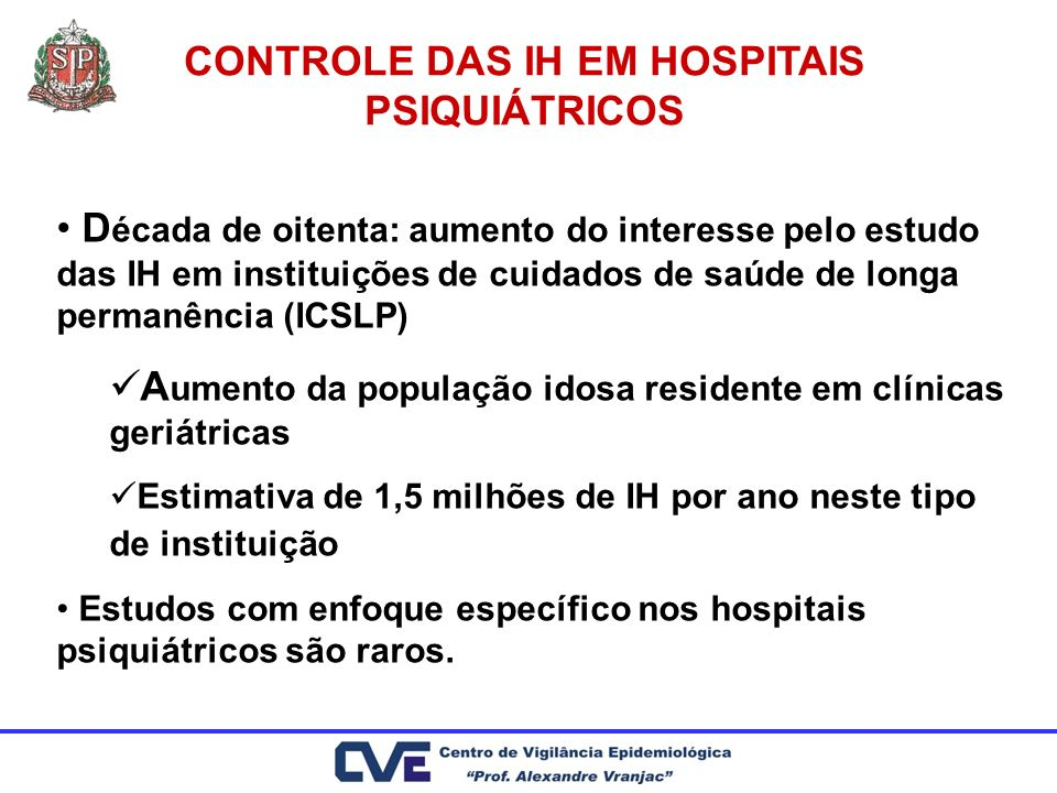 CONTROLE DAS IH EM HOSPITAIS PSIQUIÁTRICOS D écada de oitenta: aumento do interesse pelo estudo das IH em instituições de cuidados de saúde de longa p