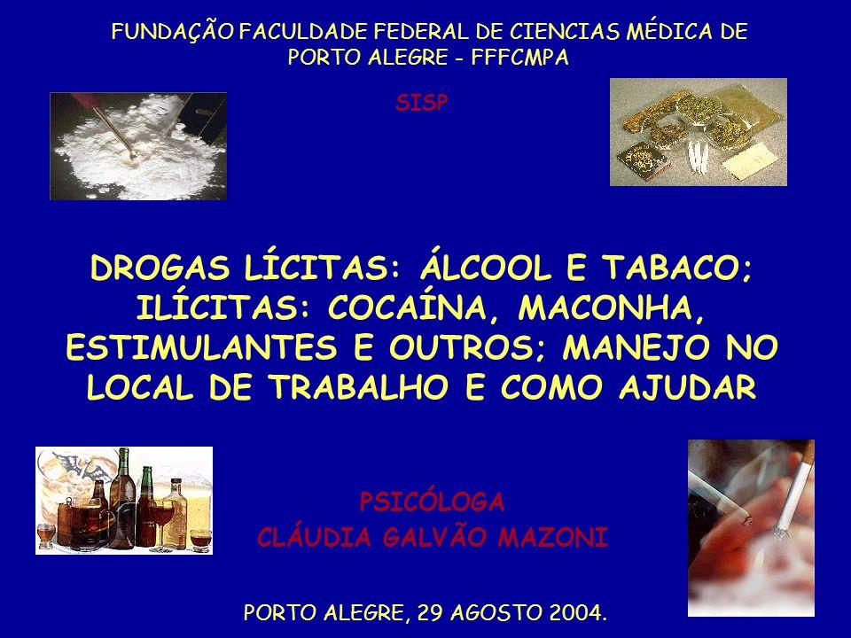 DROGAS LÍCITAS: ÁLCOOL E TABACO; ILÍCITAS: COCAÍNA, MACONHA, ESTIMULANTES E OUTROS; MANEJO NO LOCAL DE TRABALHO E COMO AJUDAR FUNDAÇÃO FACULDADE FEDER