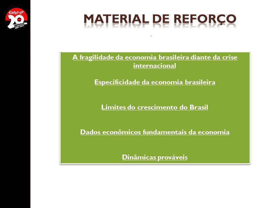 . A fragilidade da economia brasileira diante da crise internacional Especificidade da economia brasileira Limites do crescimento do Brasil Dados econ