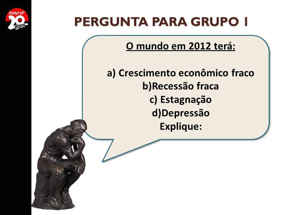 PERGUNTA PARA GRUPO 1 O mundo em 2012 terá: a) Crescimento econômico fraco b)Recessão fraca c) Estagnação d)Depressão Explique: