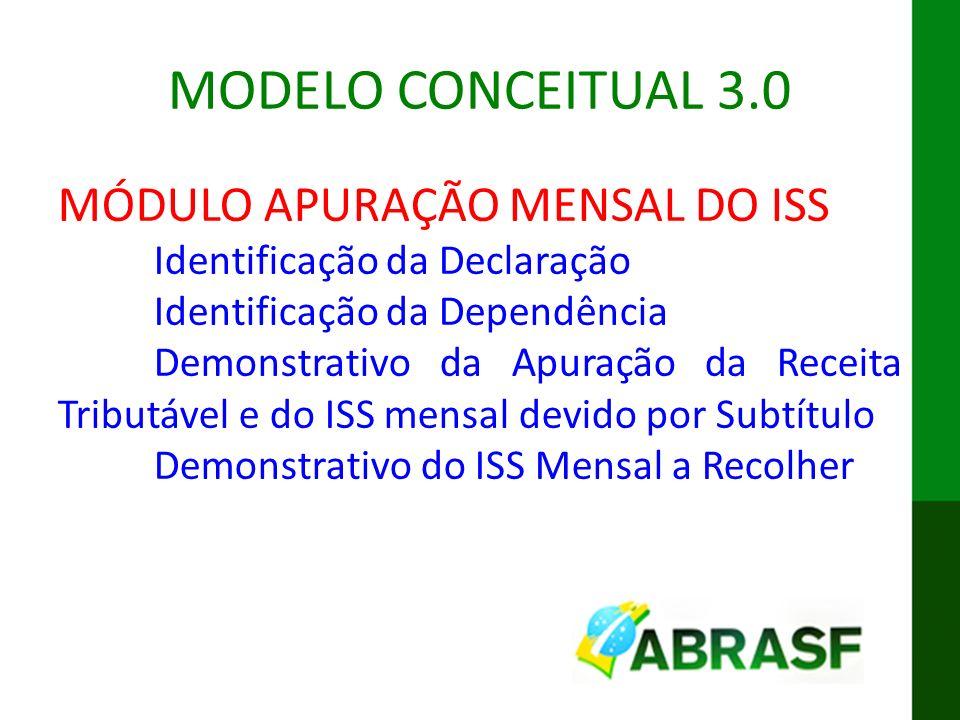 IX ENAT MODELO CONCEITUAL DA DES-IF MODELO CONCEITUAL 3.0 MÓDULO APURAÇÃO MENSAL DO ISS Identificação da Declaração Identificação da Dependência Demon