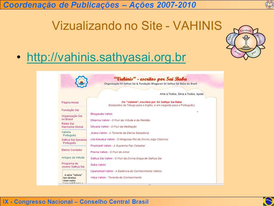 IX - Congresso Nacional – Conselho Central Brasil Coordenação de Publicações – Ações 2007-2010 Vizualizando no Site - VAHINIS http://vahinis.sathyasai