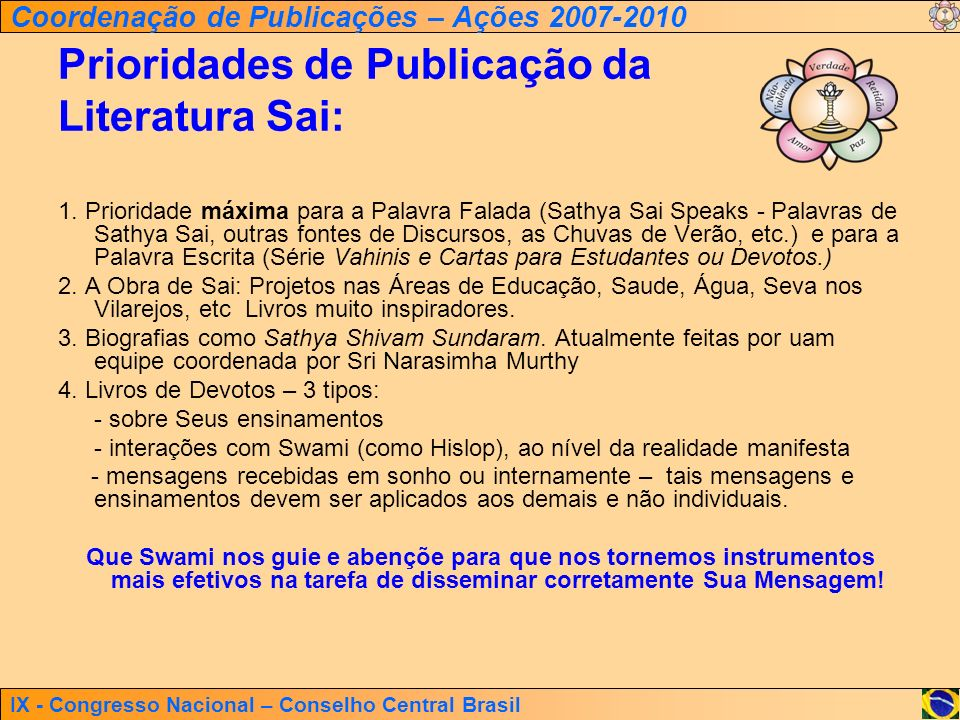 IX - Congresso Nacional – Conselho Central Brasil Coordenação de Publicações – Ações 2007-2010 Prioridades de Publicação da Literatura Sai: 1. Priorid