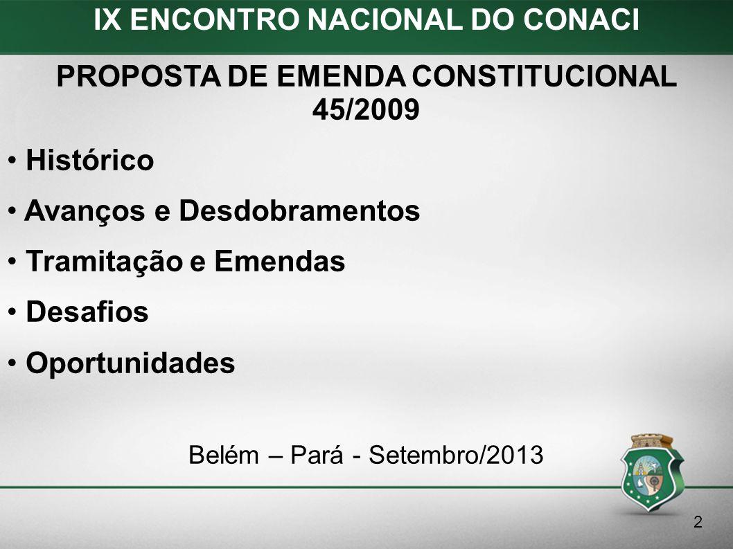 Proposta de Emenda Constitucional 45/2009 Oportunidades I.Emendas as Constituições Estaduais e Leis Orgânicas Municipais – EC 75/2012 do Ceara.