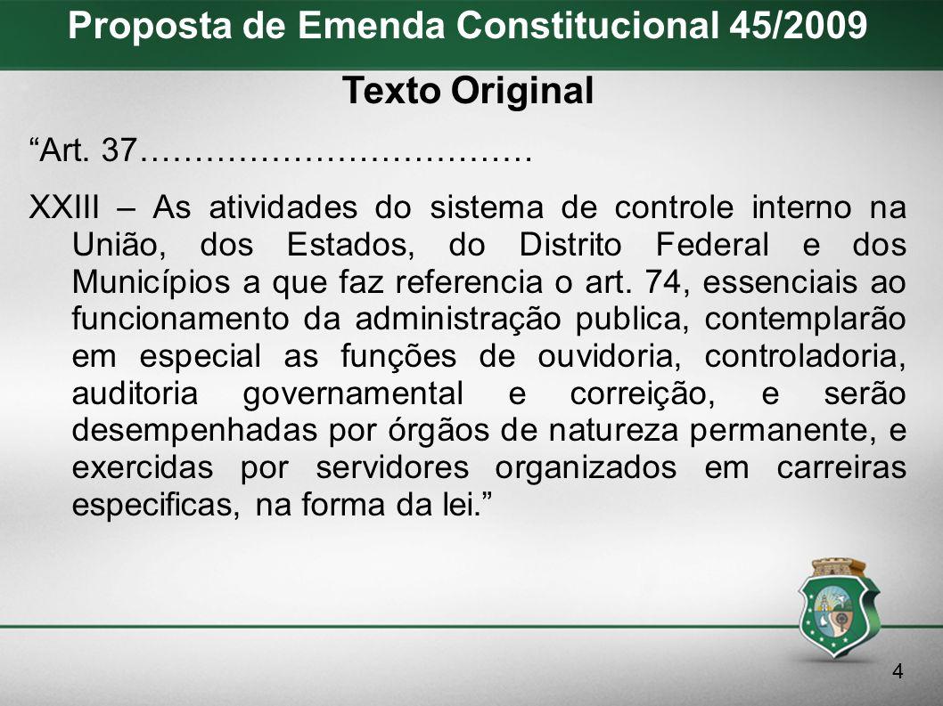 Proposta de Emenda Constitucional 45/2009 Avanços I.Inserção do Controle Interno no Capítulo da Administração Pública.