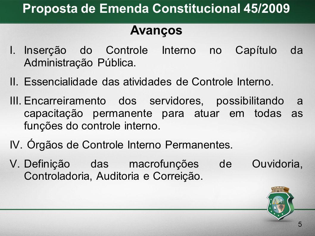 Proposta de Emenda Constitucional 45/2009 Desdobramentos I.