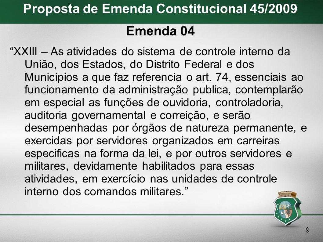 Proposta de Emenda Constitucional 45/2009 Texto incorporando as emendas 03 e 04 XXIII - As atividades do sistema de controle interno da União, dos Estados, do Distrito Federal e dos Municípios, a que faz referência o art.