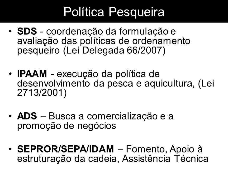 Política Pesqueira SDS - coordenação da formulação e avaliação das políticas de ordenamento pesqueiro (Lei Delegada 66/2007) IPAAM - execução da polít