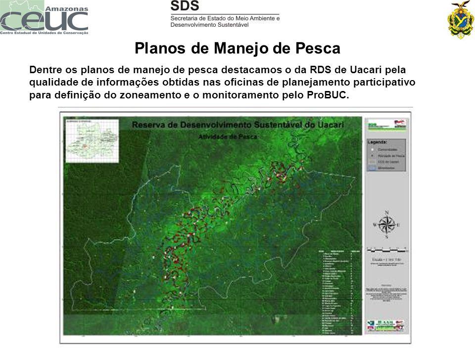 Planos de Manejo de Pesca Dentre os planos de manejo de pesca destacamos o da RDS de Uacari pela qualidade de informações obtidas nas oficinas de plan