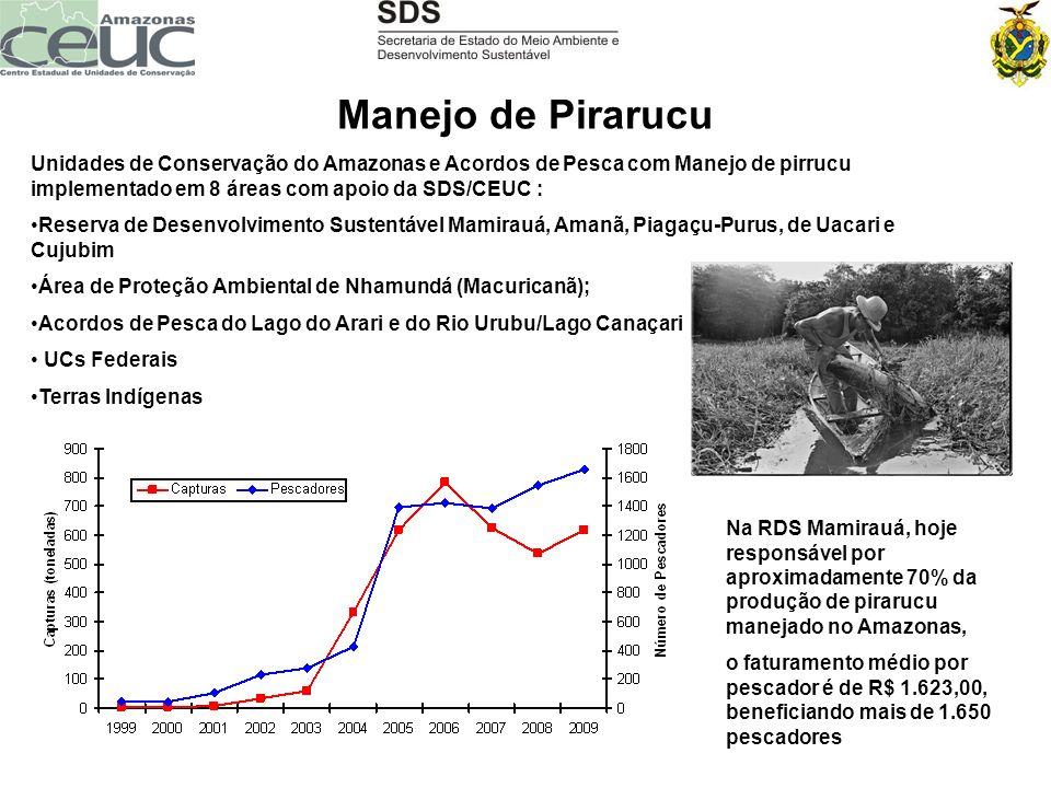 Manejo de Pirarucu Unidades de Conservação do Amazonas e Acordos de Pesca com Manejo de pirrucu implementado em 8 áreas com apoio da SDS/CEUC : Reserv