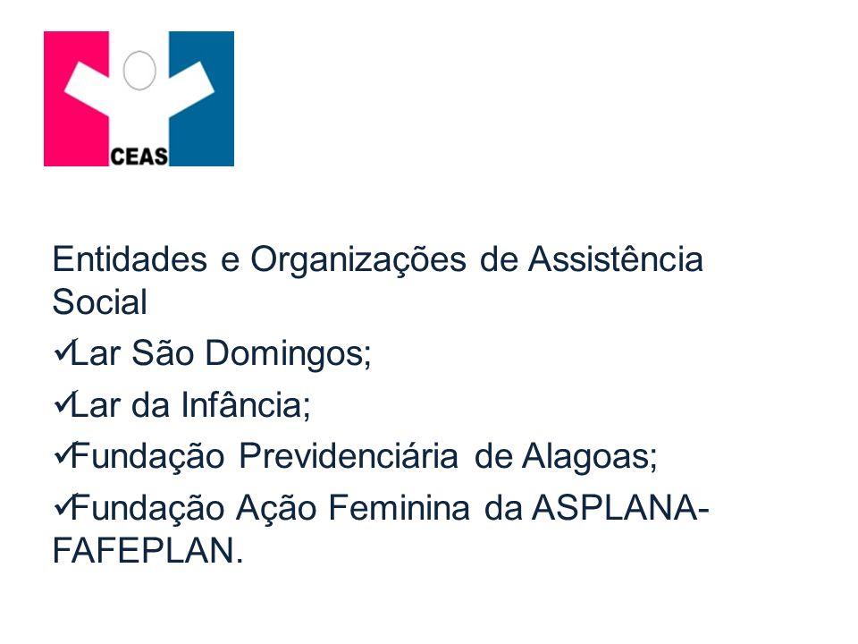 Entidades e Organizações de Assistência Social Lar São Domingos; Lar da Infância; Fundação Previdenciária de Alagoas; Fundação Ação Feminina da ASPLAN