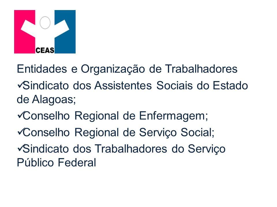 Entidades e Organização de Trabalhadores Sindicato dos Assistentes Sociais do Estado de Alagoas; Conselho Regional de Enfermagem; Conselho Regional de