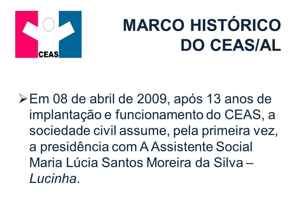 MARCO HISTÓRICO DO CEAS/AL Em 08 de abril de 2009, após 13 anos de implantação e funcionamento do CEAS, a sociedade civil assume, pela primeira vez, a