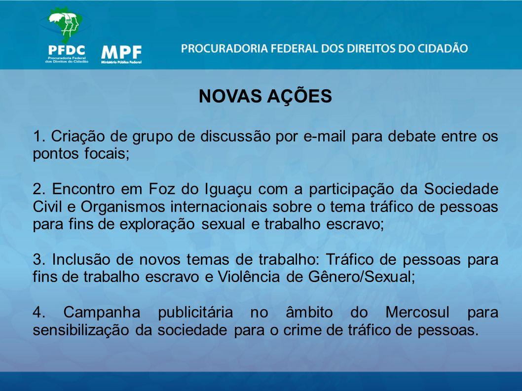 NOVAS AÇÕES 1. Criação de grupo de discussão por e-mail para debate entre os pontos focais; 2.